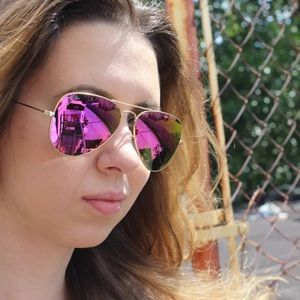 Authentic Ray-ban aviator pink lens gold frame